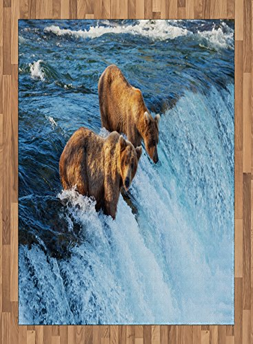 Africa Area Rug by Lunarable, Grizzly Bear in the Stream River Fishing Alaskan Salmon Savage Carnivore Animal, Flat Woven Accent Rug for Living Room Bedroom Dining Room, 5.2 x 7.5 FT, Brown Blue by Lunarable