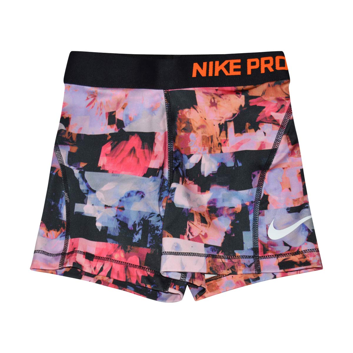 Nike Girl's Pro Training Shorts (Hyper Pink/Orange-Burst, Medium)