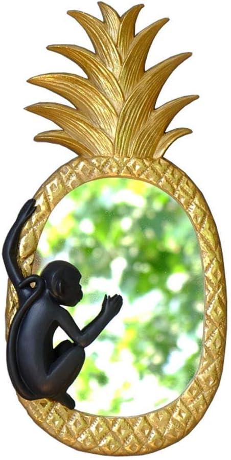 ZLBYB Espejo de Bienvenida Mono Escalada piña Porche Decorativo Espejo, Material Premium, Estacional Primavera Verano Al Aire Libre Divertido Decorativo