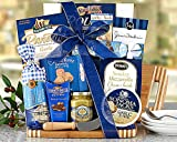 Gourmet Foods Gift Baskets, a Cut Above, a Bamboo Cutting Board Is Piled High with Wine Country Favorites. Daniele Artisan Handmade Smoked Salame, Napa Valley Mustard Company Stone Ground Mustard, Sesame Crackers, Sonoma Jacks Garlic Herb Cheese Wedges, R