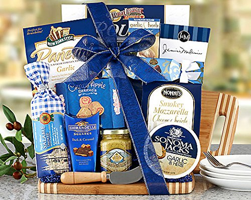 Gourmet Foods Gift Baskets, a Cut Above, a Bamboo Cutting Board Is Piled High with Wine Country Favorites. Daniele Artisan Handmade Smoked Salame, Napa Valley Mustard Company Stone Ground Mustard, Sesame Crackers, Sonoma Jacks Garlic Herb Cheese Wedges, R by WC001