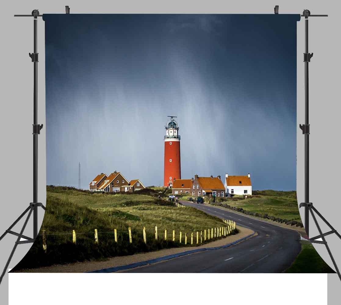 ST 6X6FT 赤灯台 写真撮影用背景 緑の草と青い空 ユース用 背景小道具 ST660062   B07CFKQ7MT
