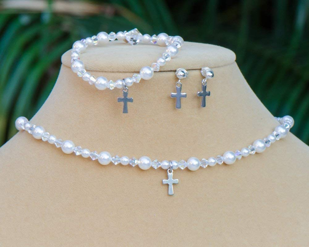 Cross Necklace, Bracelet and Earring Jewerly Set with Swarovski Crystals and Simulated Pearls