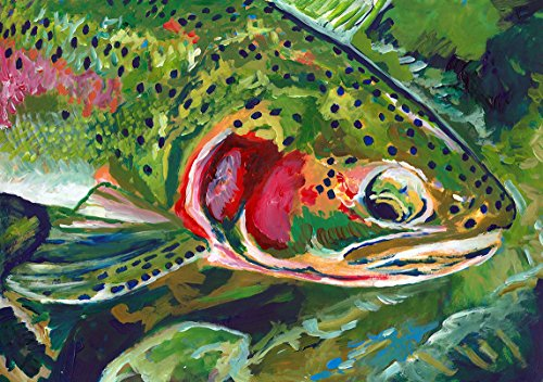 (Trout Art, Fly Fishing Gift - Trout Fishing Wall Art Print Hand Signed By Jack Tarpon, Rainbow Trout Fish Decor)