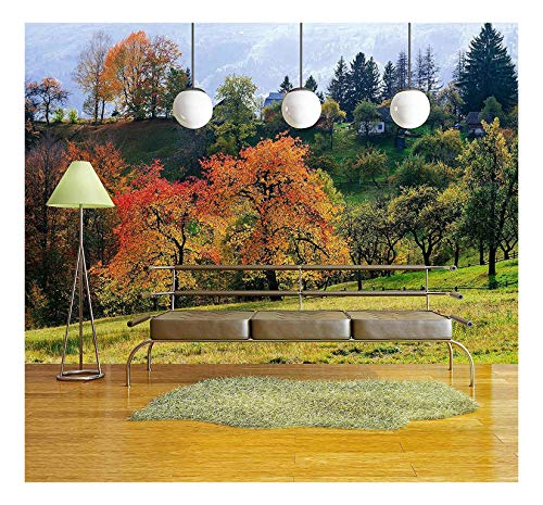 wall26 - Autumn Cherry Tree in a Mountain Village. Solar Landscape. Carpathians, Ukraine, Europe - Removable Wall Mural   Self-adhesive Large Wallpaper - 66x96 inches