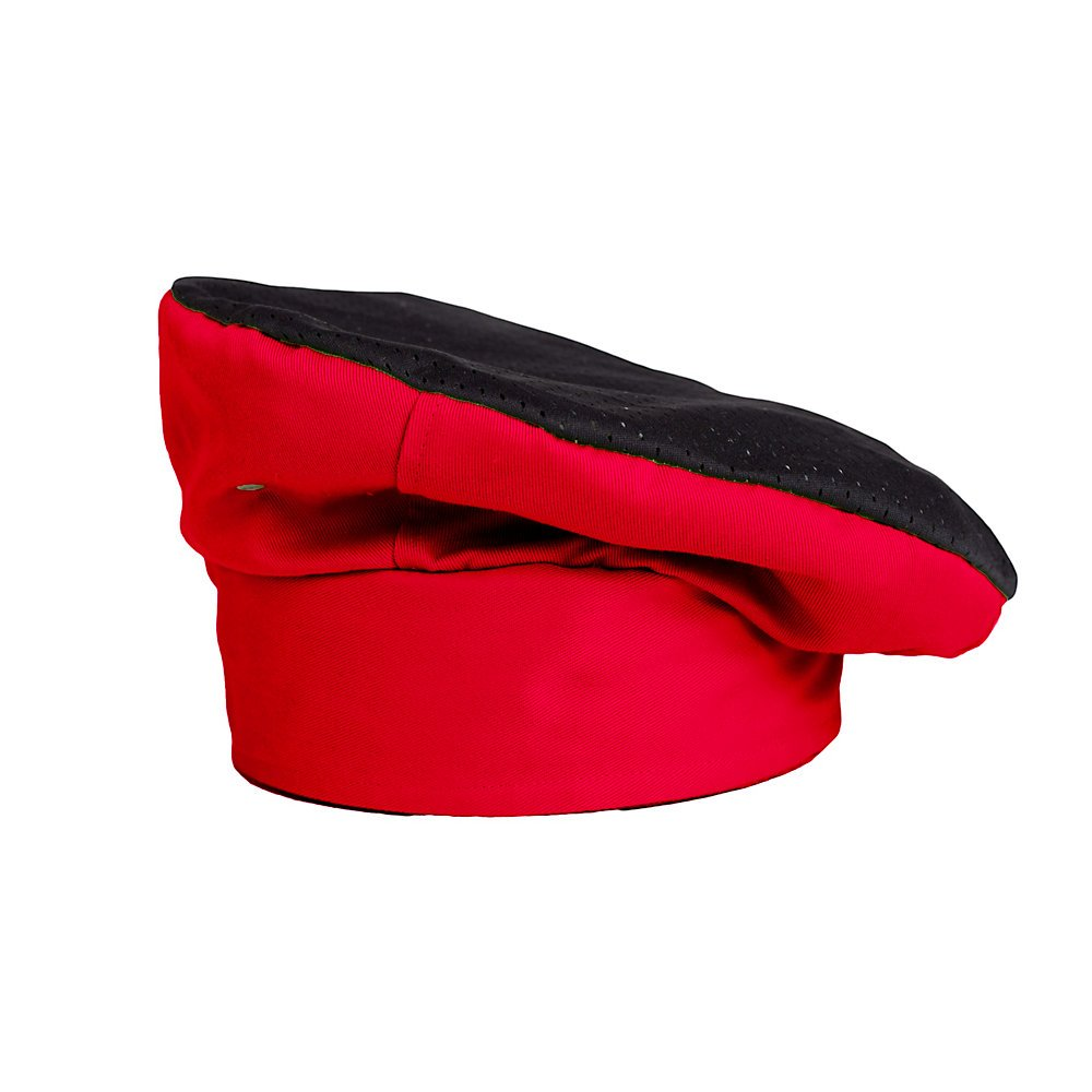 KNG Active Chef Toque, Red with Black Accent