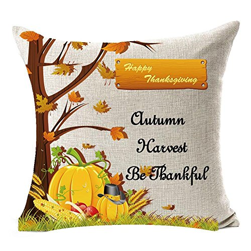 Pillow Case - Season Blessing Large Tree Maple Leaves Pumpkin Autumn Harvest Be Thankful Thanksgiving Gifts Flax - Tshirt Beauty Home Dust Small Gift Wrinkle Olive Geometric Print Sweat -