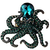 YACQ Jewelry Women's Crystal Octopus Stretch Rings Scarf Ring Buckle Clip Women