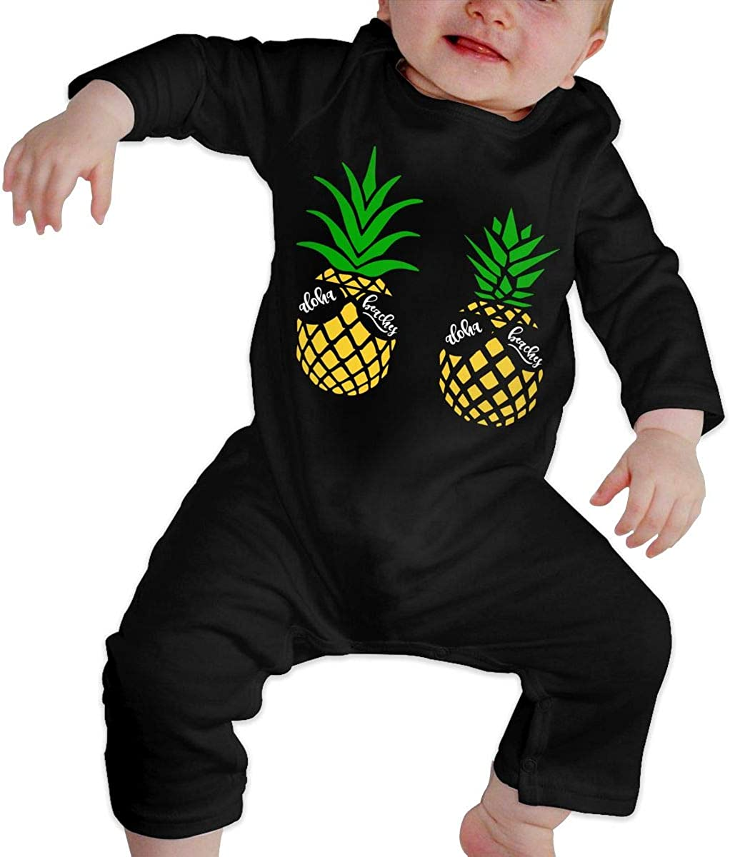 Aloha Beaches Pineapple Printed Newborn Baby One-Piece Suit Long Sleeve Rompers Black