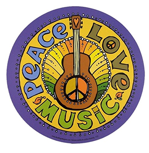 - Peace, Love, and Music Magnet for Car Locker or Refrigerator, 5 3/4 Inch