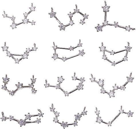 48pcs Alloy Pendant Zodiac Constellation for Necklace Bag Keychain Pendant