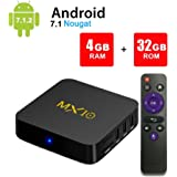 MX10 Android 7.1 TV Box 4GB + 32GB 4K Ultra HD Smart TV Box RK3328 Quad-Core 64bit CPU 2.4G Wifi 100M LAN 3D H.265 Set Top Box with Remote Control