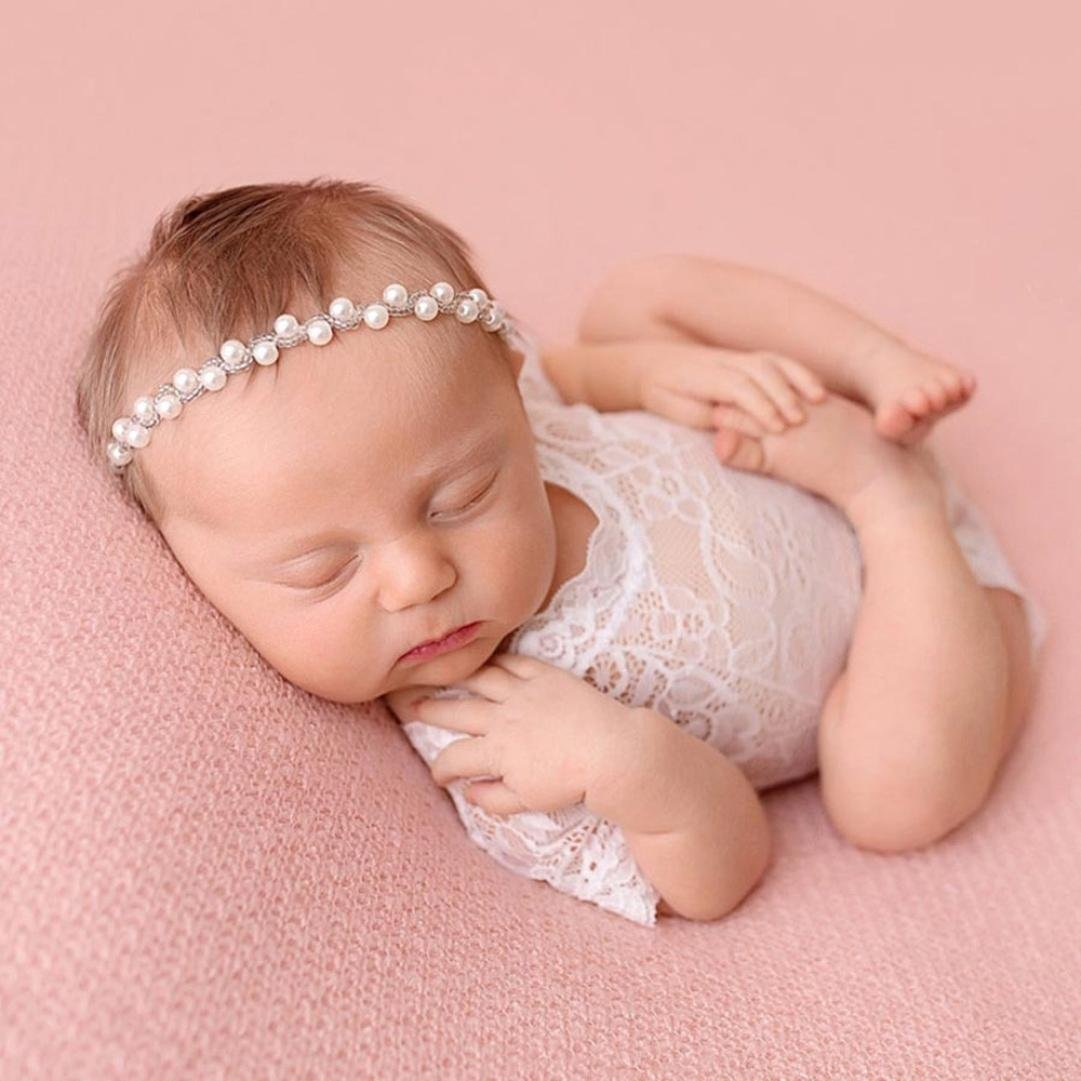 b61e8afd3 Amazon.com: Makaor Baby Photography Props Outfit Newborn Infant Baby Girl Photography  Prop Lace Romper Jumpsuit Princess Clothes (White, for 0-6 Months ...