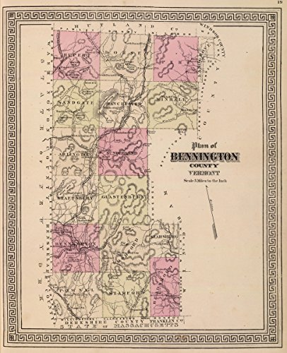 Bennington Vermont - State Atlas | 1876 Plan of Bennington County, Vermont. | Historic Antique Vintage Map Reprint