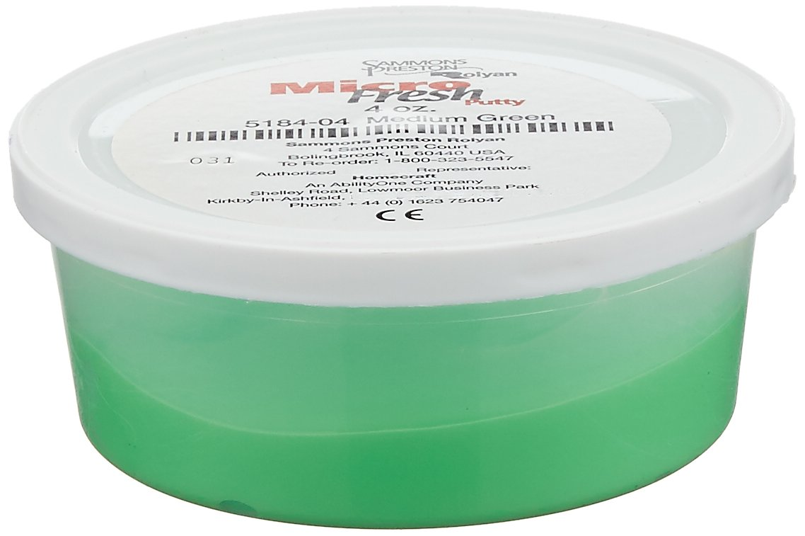 Sammons Preston Micro-Fresh Putty, Antibacterial, Antifungal, and Antimicrobial Therapy Putty for Hands and Feet Exercises, Color Coded Non-Toxic Clay, Medium, Green, 4 Ounces