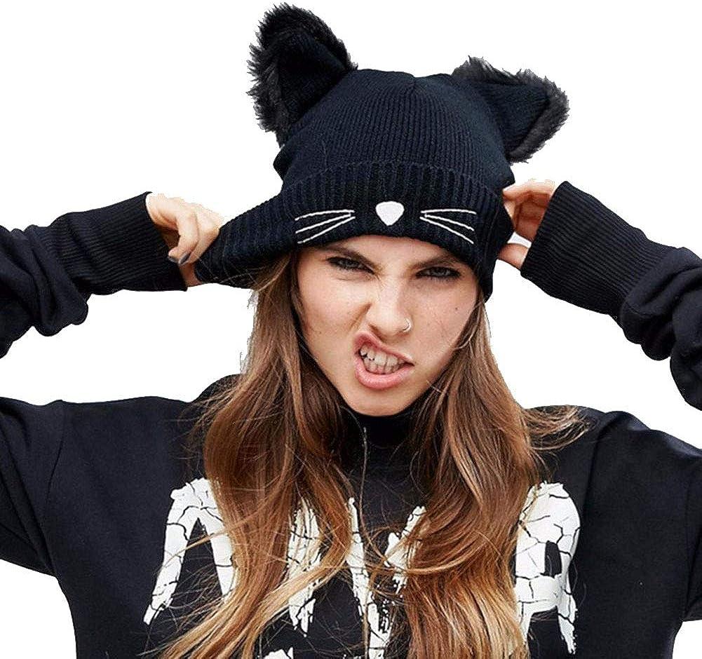 CNNIK Sombrero de Oreja de Gato para Mujer Sombrero de esquí cálido de Invierno para niñas, con Pelusa y Bordado, para Adultos (Negro)