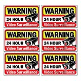 Signs Authority Video Security Decals Sign for Home/Business 6 Piece Set Self Adhesive Vinyl Stickers-Outdoor/Indoor 4'' x 2.5'' for Window, Door & Wall For CCTV, DVR, Camera Surveillance Systems