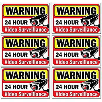 Signs authority video security decals sign for home business 6 piece set self adhesive vinyl
