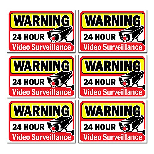 "Signs Authority Video Security Decals Sign for Home/Business 6 Piece Set Self Adhesive Vinyl Stickers-Outdoor/Indoor 4"" x 2.5"" for Window, Door & Wall For CCTV, DVR, Camera Surveillance Systems"