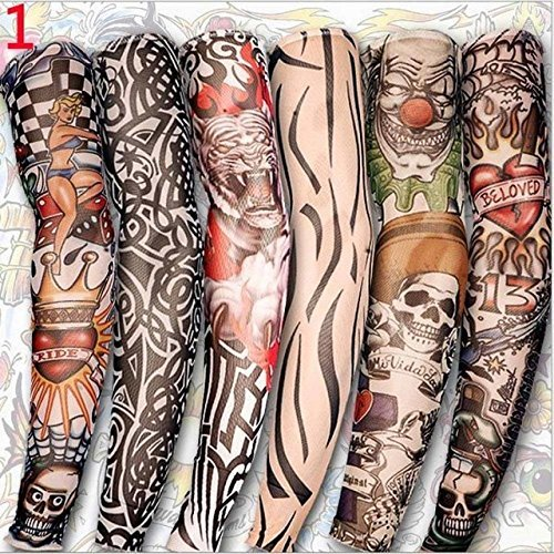 Fake Tattoo Sleeves Fake Tattoo Sleeve - 6PC Hot Sale Style Unisex Women Men Temporary Fake Slip On Tattoo Arm Sleeves Kit Colletion Halloween - Fake Tattoos Sleeves (Type A) ()