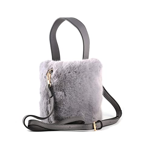03b9262babbe Amazon.com  Women s Fluffy Shaggy Faux Fur Bucket Crossbody Bag ...