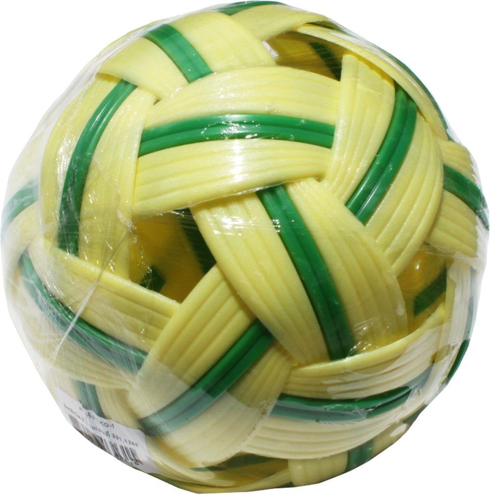 Full Funk Plastic Hard Takraw Ball Thai Team Footsack Hardcore Hacky Sport, Yellow with Green Stripe