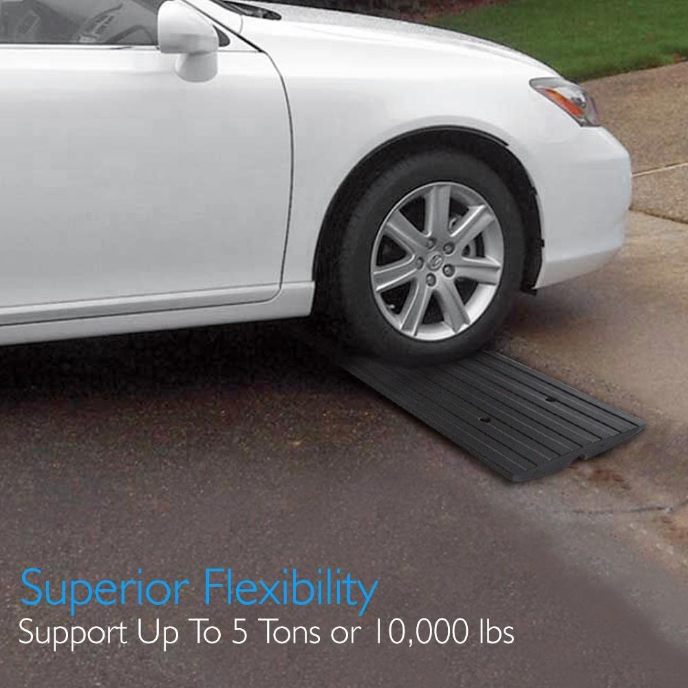 Pyle coche Entrada ajustable Curb rampas - 3 unidades Juego de rampa de goma resistente - también para muelle de carga, garaje, hormigón, camión, moto, ...