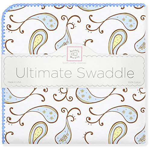 Ultimate Swaddledesigns Blanket Swaddling - SwaddleDesigns Ultimate Swaddle, X-Large Receiving Blanket, Made in USA Premium Cotton Flannel, Pastel Blue Paisley (Mom's Choice Award Winner)
