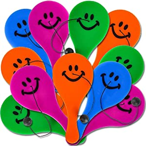 ArtCreativity Smile Face Paddle Balls, Pack of 36, Mini 4.5 Inch Plastic Paddleball with String, Assorted Bright Colors, Great Party Favors, Goodie Bag Fillers, Fun Activity Toys for Kids