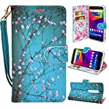 Droid Maxx 2 Case, Customerfirst Droid Maxx 2 Wallet Case, Luxury PU Leather Case Flip Cover Built-in Card Slots & Stand For Motorola Moto Droid Maxx 2 (Blossom Teal)