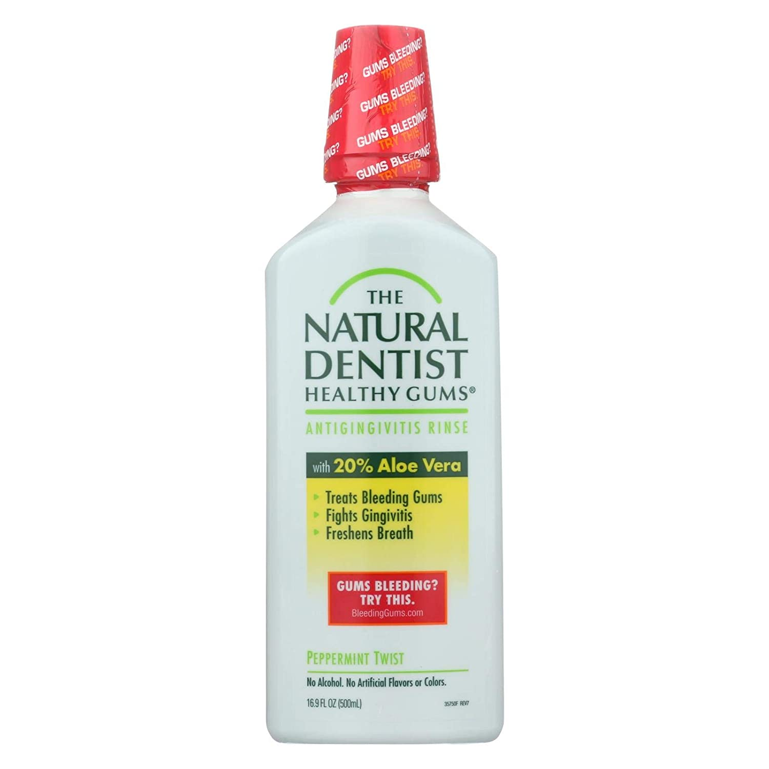 2 Pack of The Natural Dentist Healthy Gums Antigingivitis Mouthwash to Prevent and Treat Bleeding Gums and Fight the Gum Disease Gingivitis - Peppermint Twist flavor, 16.9 oz.