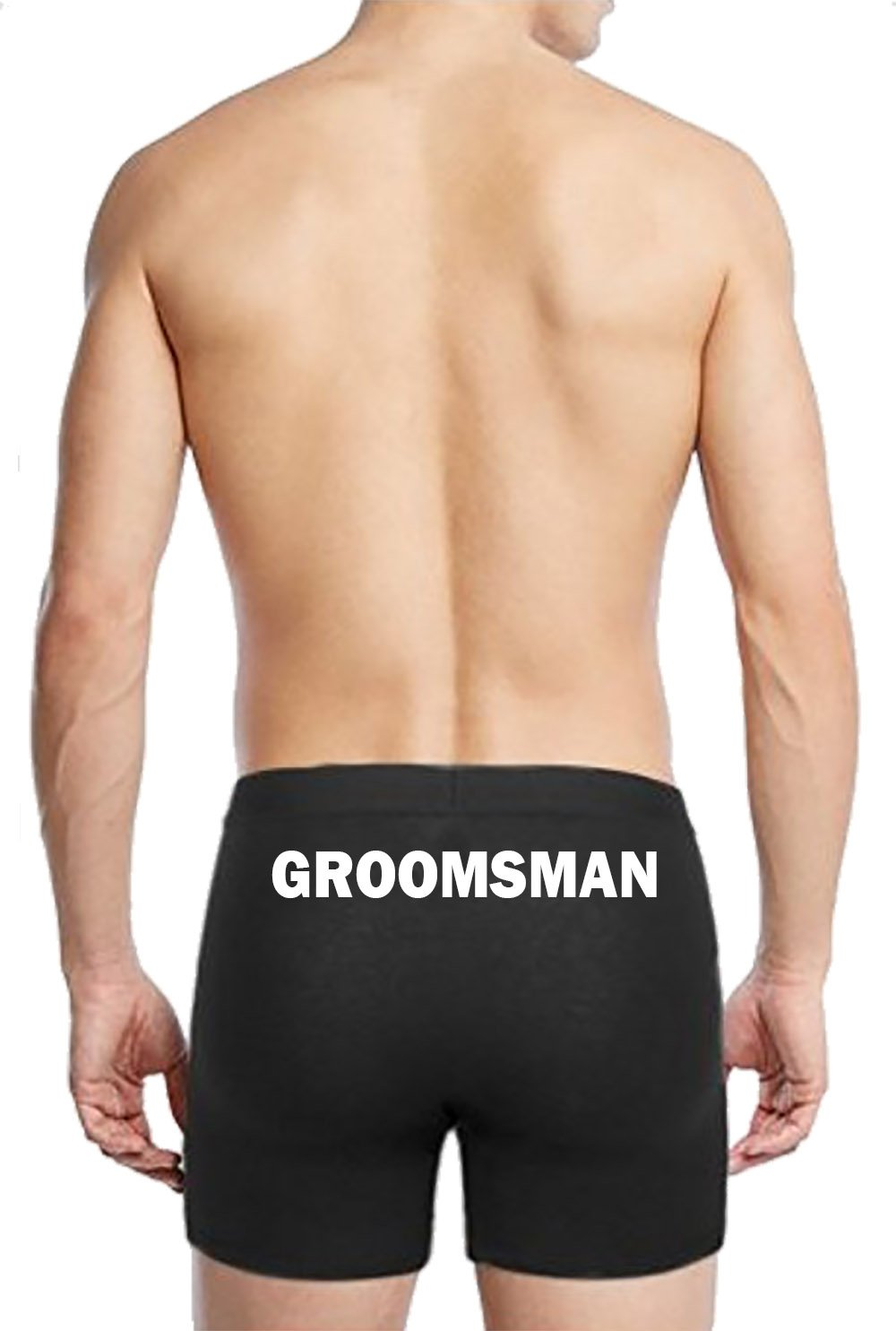 Boxer Briefs for Men Groomsman Wedding Underwear Bachelor Party Gifts Black Small