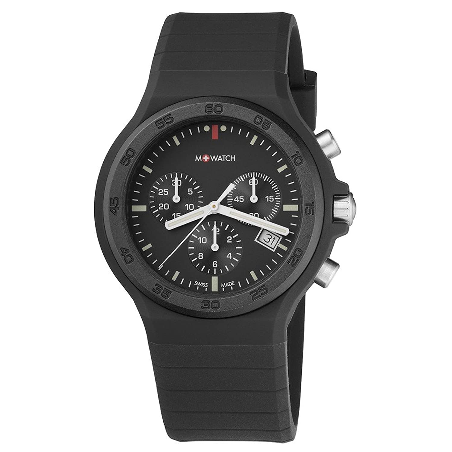 M-WATCH Unisex-Armbanduhr Maxi Black Chronograph Quarz WYO.15420.RB