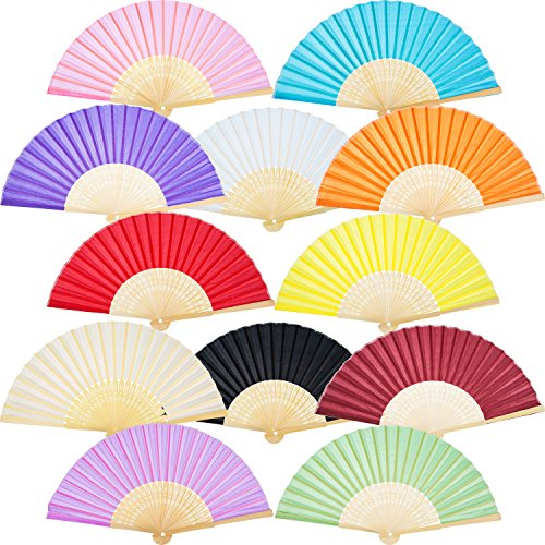 Bememo Hand Held Fans Silk Bamboo Folding Fans Handheld Folded Fan for Church Wedding Gift, Party Favors, DIY Decoration (12 Pack, Multicolor) -