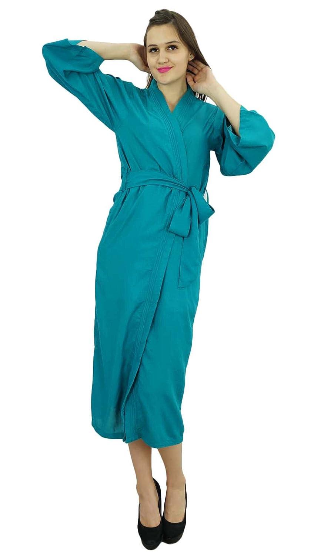 Bimba Femmes Long Solide Ceinture Robe Souple Coton Modal Wrap Ronde Ordinaire Peignoir