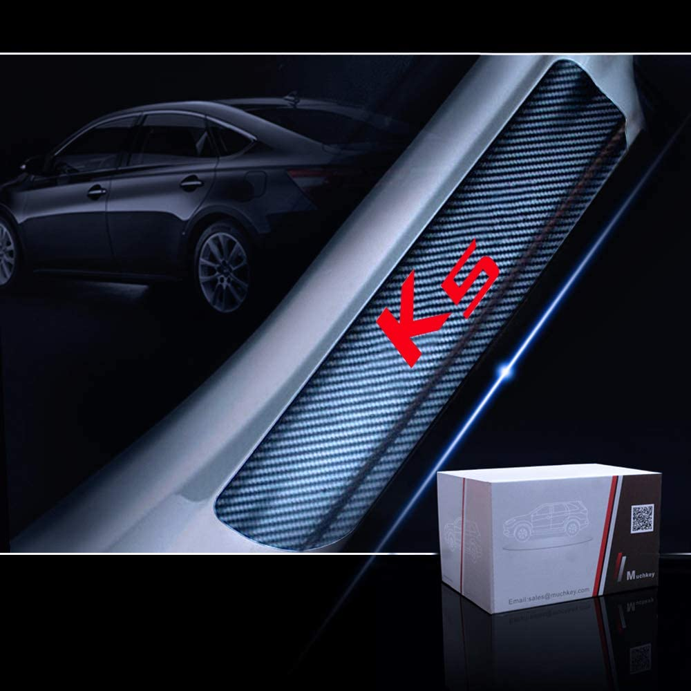 for Kia K5 Door Sill Protector Reflective 4D Carbon Fiber Sticker Door Entry Guard Door Sill Scuff Plate Stickers Auto Accessories 4Pcs Blue