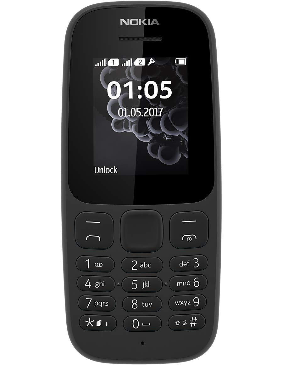Nokia 105 Single Sim Mobile Phone 2017 Edition Black Dual Handphone
