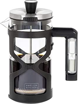 Cafetera de prensa francesa con temporizador de mango de reloj de arena, 34 onzas, sistema de filtración de acero inoxidable reutilizable de 3 niveles, incluye 2 filtros adicionales, cafetera de té de