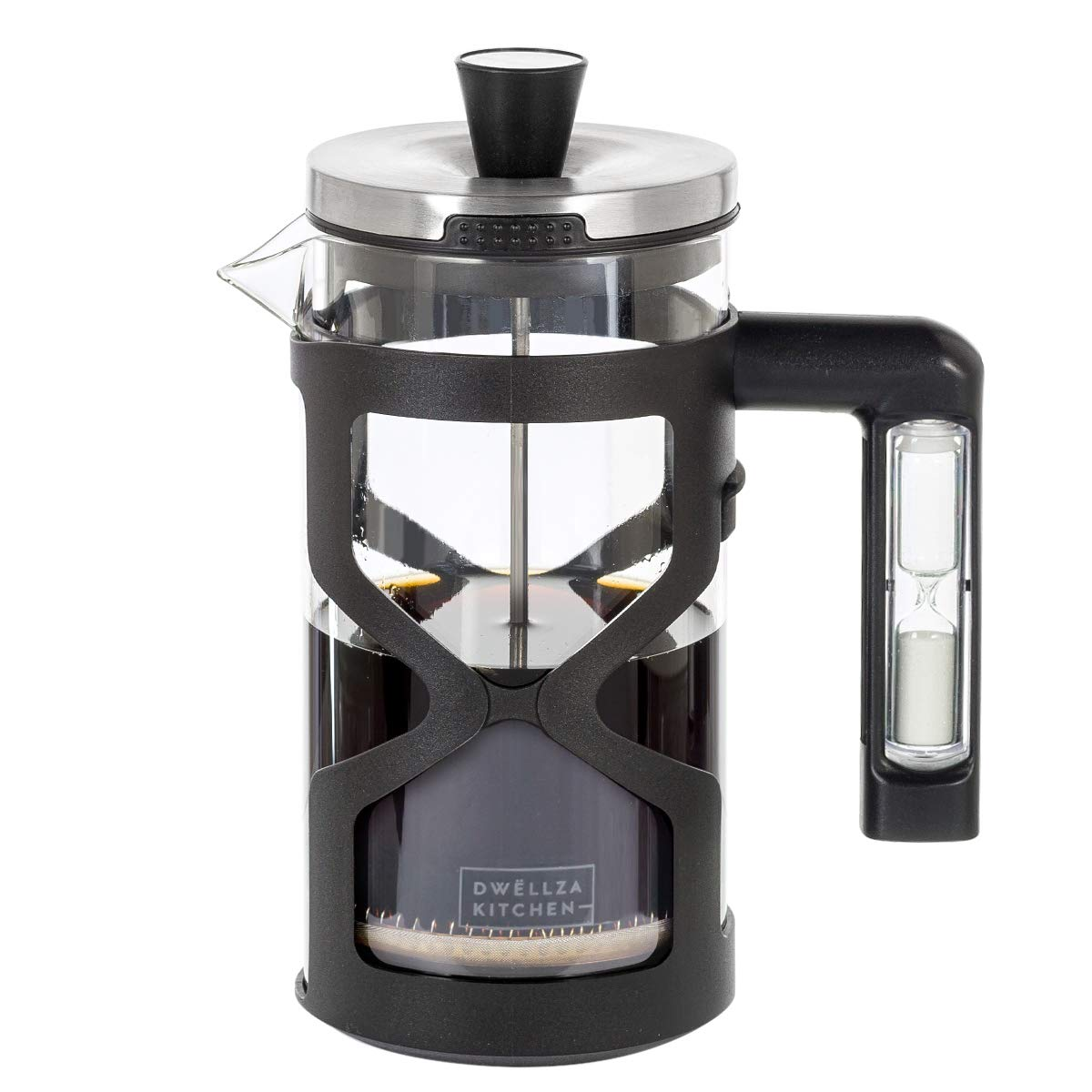 DWËLLZA KITCHEN French Press Coffee Maker - with Hourglass Handle Timer, 34 Ounce, Triple Stainless Steel Filtration System, Includes 2 Bonus Filters, Glass Heat Resistant Loose Leaf Tea Brewer.