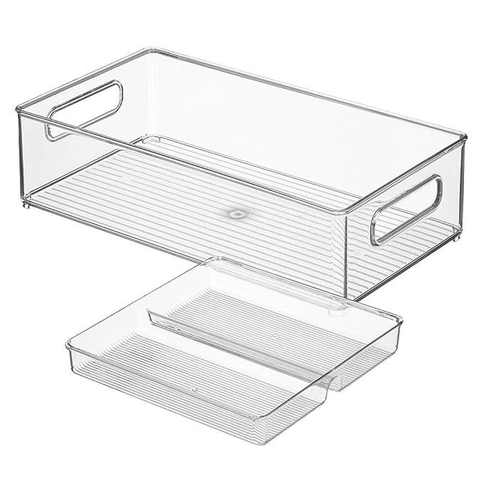 mDesign Juego de 2 cajones de cocina con bandeja - Práctico cajón de plástico para la despensa o el refrigerador - Espaciosa caja organizadora con ...