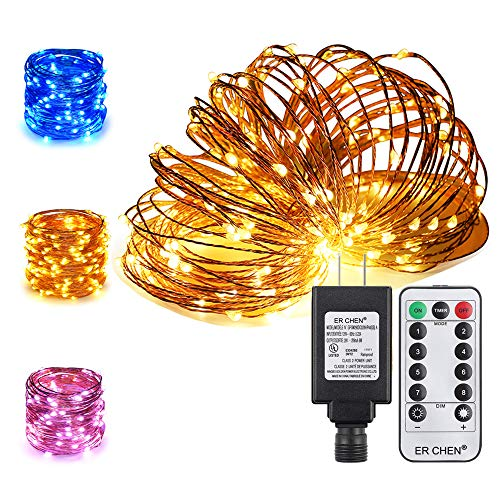 ER CHEN Color Changing LED String Lights Plug in with Remote, 39.5ft 100 LED Copper Wire Dimmable Fairy Lights 8 Modes Decorative Lights with Timer for Bedroom, Patio, Garden, Yard-Warm White&Blue by ErChen (Image #10)