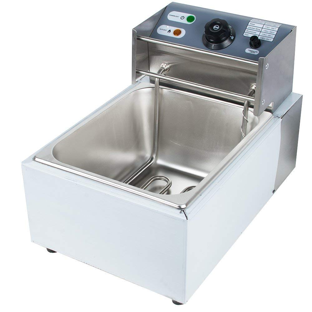 Commercial Electric Deep Fryer,Timer and Drain Stainless Steel French Fry&2500W Electric 5.5L Commercial Countertop Deep Fryer Commercial Basket Electric Fry Restaurant (Free Canada Shipping)