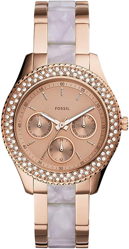 Fossil Stella Multifunction Stainless Steel and Acetate
