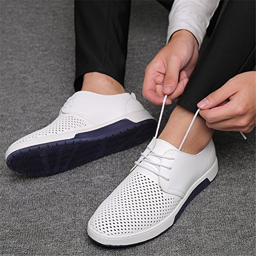 KONHILL Men's Casual Oxford Shoes Breathable Flat Fashion Lace-up Dress Shoes, White, 45 by KONHILL (Image #6)