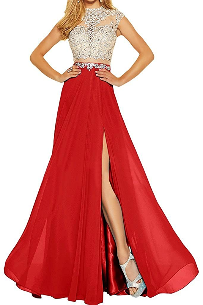 Red MariRobe Women's Beading Evening Dress Split Illusion Prom Gown Sleveless Backless Dance Dress for Girls Pink