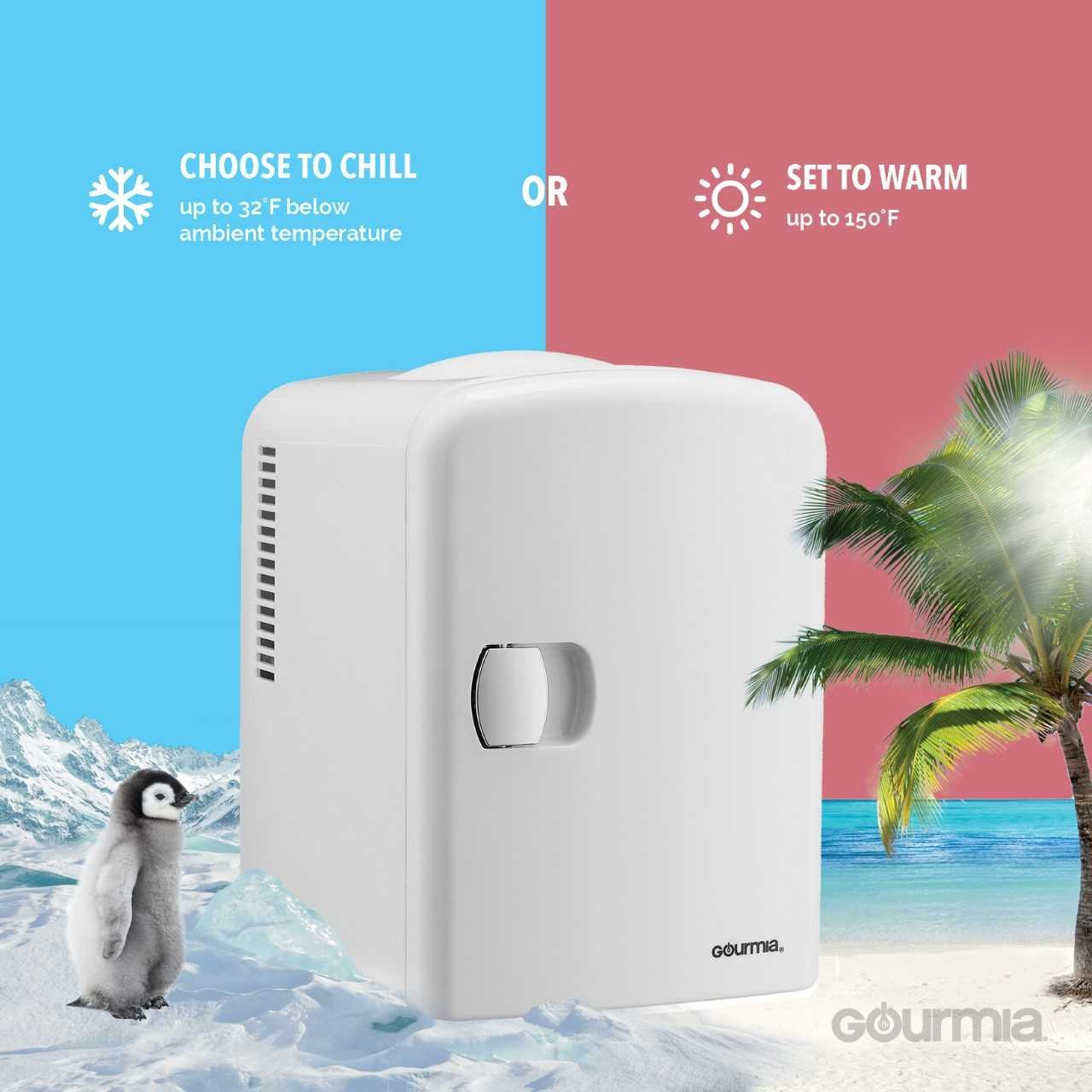 Gourmia GMF600 Thermoelectric Mini Fridge Cooler and Warmer - 4 Liter/6 Can - For Home,Office, Car, Dorm or Boat - Compact & Portable - AC & DC Power Cords - White by Gourmia (Image #3)