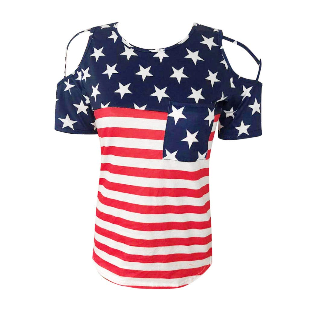 Lemoning ✿ Womens Casual Crisscross Cold Shoulder Independence Day American Flag Blouse