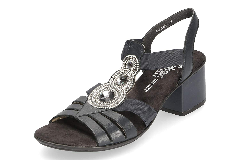 Rieker Damen Komfort Riemchen Sandaletten Blau Dunkel Gr. 37 zYlMH