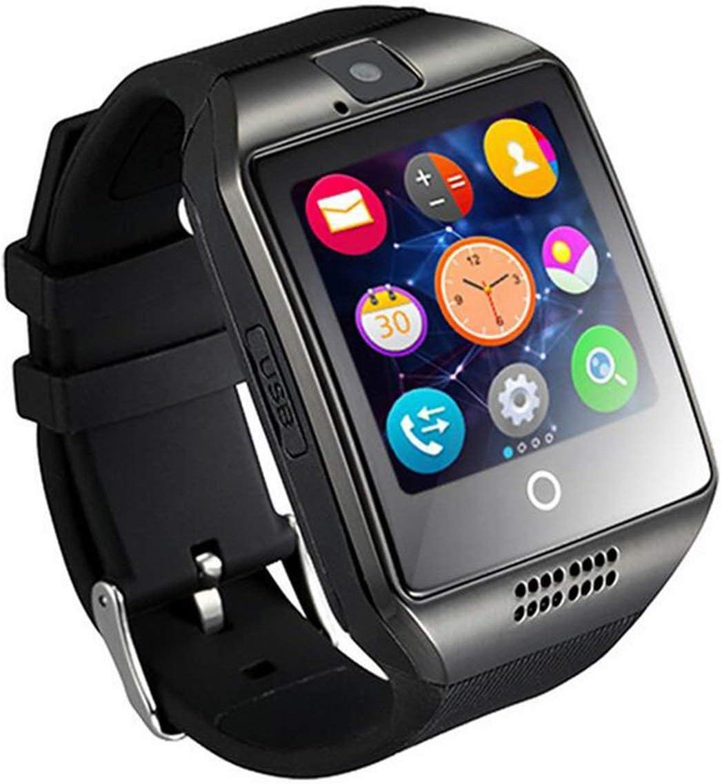 fengzong Smart Watch Q18 con cámara Facebook Whatsapp Twitter Sync SMS Smartwatch Soporte SIM TF Card para iOS Android (Negro)