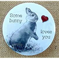 """Magnet: 3.5"""", Rabbit, Some Bunny Loves You, Pun, Cute, Pencil Art, Red Heart"""